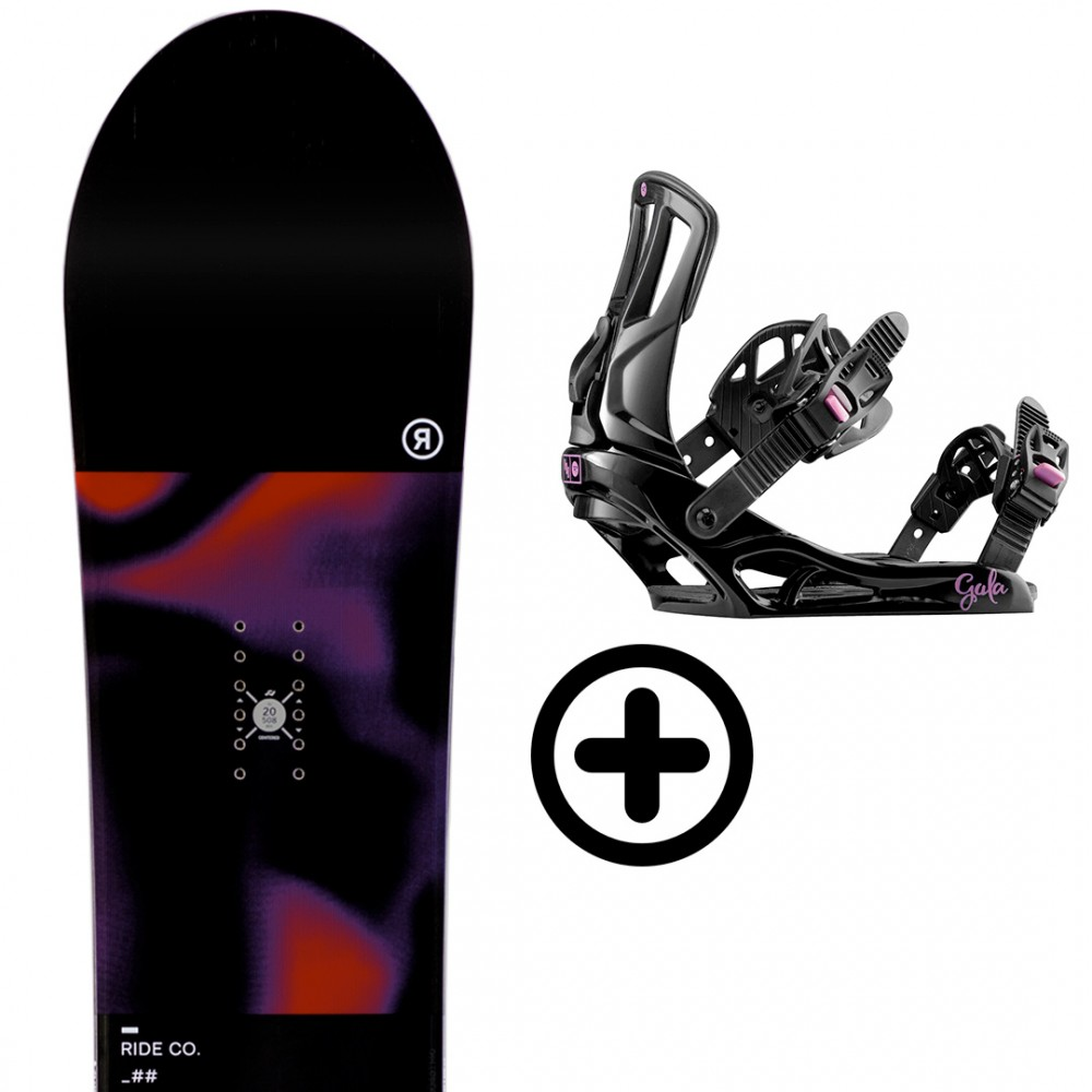 RIDE SNOWBOARDS COMPACT + ROSSIGNOL GALA BLACK/PURPLE S/M